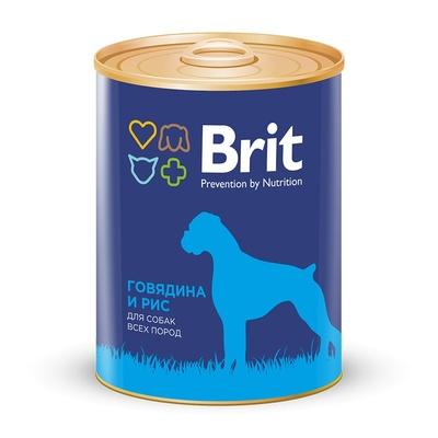 Brit влажный корм для взрослых собак всех пород, говядина и рис 850 гр