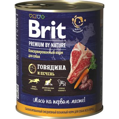 Brit влажный корм для взрослых собак всех пород, говядина и печень 850 гр
