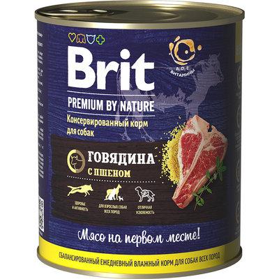 Brit Premium by Nature влажный корм для взрослых собак всех пород, говядина и пшено 850 гр