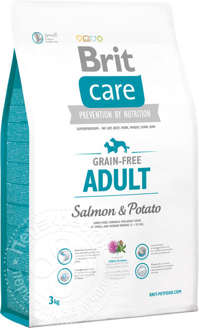 Brit Care корм для взрослых собак, лосось и картофель 3 кг
