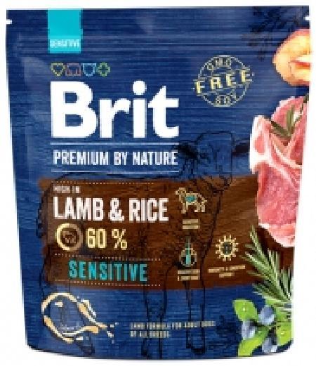 Brit Premium корм для собак с чувствительным пищеварением и проблемами кожи, ягненок и рис 1 кг
