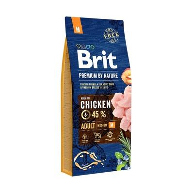 Brit Акция  15+3 кг в подарок сухой корм  Premium by Nature Adult M для взрослых собак средних пород с курицей 538218, 18,000 кг