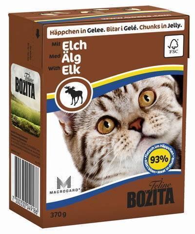 Bozita влажный корм для взрослых кошек всех пород, кусочки в желе с мясом лося 370 гр