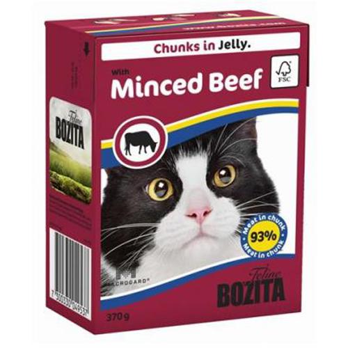 Bozita влажный корм для взрослых кошек всех пород, кусочки в желе с рубленной говядиной 370 гр