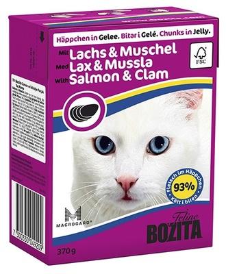 Bozita влажный корм для взрослых кошек всех пород, кусочки в желе с лососем и мидиями 370 гр