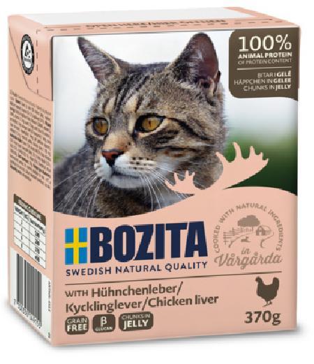 Bozita влажный корм для взрослых кошек всех пород, кусочки в желе с куриной печенью 370 гр