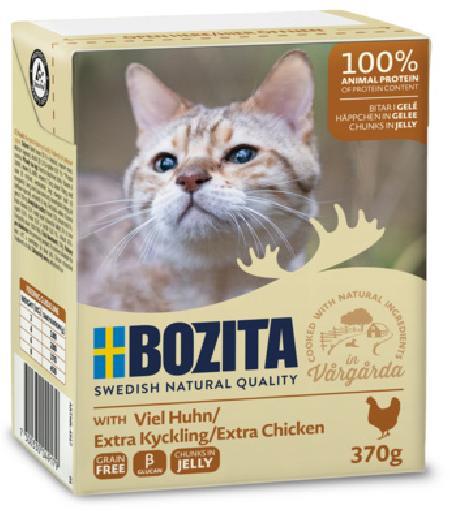 Bozita влажный корм для взрослых кошек всех пород, кусочки в желе с рубленой курицей 370 гр