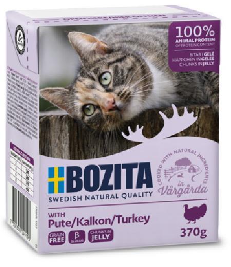 Bozita влажный корм для взрослых кошек всех пород, кусочки в желе с рубленной индейкой 370 гр