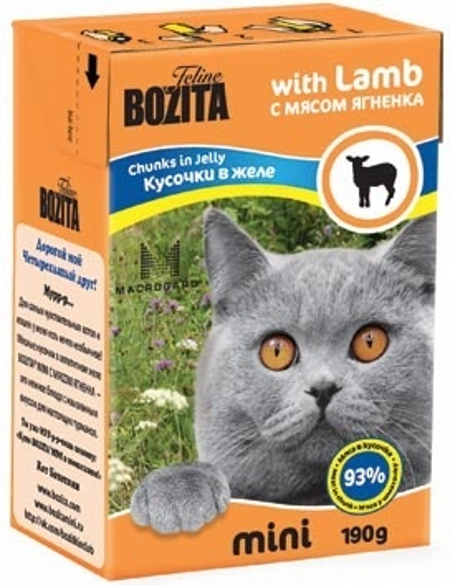 Bozita Mini влажный корм для взрослых кошек всех пород, кусочки в желе с мясом ягненка 190 гр