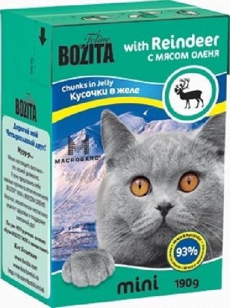 Bozita Mini влажный корм для взрослых кошек всех пород, кусочки в желе с мясом оленя 190 гр