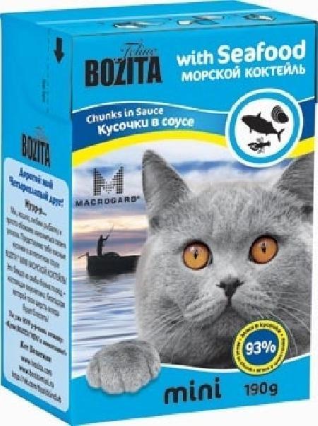 Bozita Mini влажный корм для взрослых кошек всех пород, кусочки в соусе морской коктейль 190 гр