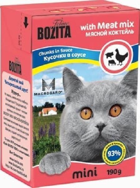 Bozita Mini влажный корм для взрослых кошек всех пород, кусочки в соусе мясной микс 190 гр
