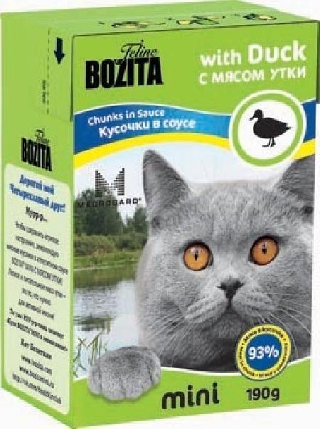 Bozita Mini влажный корм для взрослых кошек всех пород, кусочки в соусе с мясом утки 190 гр