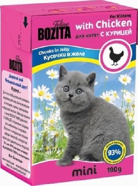 Bozita Mini влажный корм для котят всех пород, кусочки в желе с курицей 190 гр