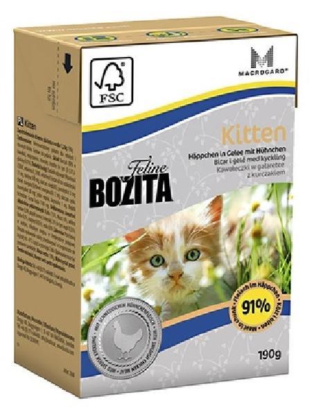 Bozita влажный корм для котят всех пород, кусочки в желе с курицей 190 гр
