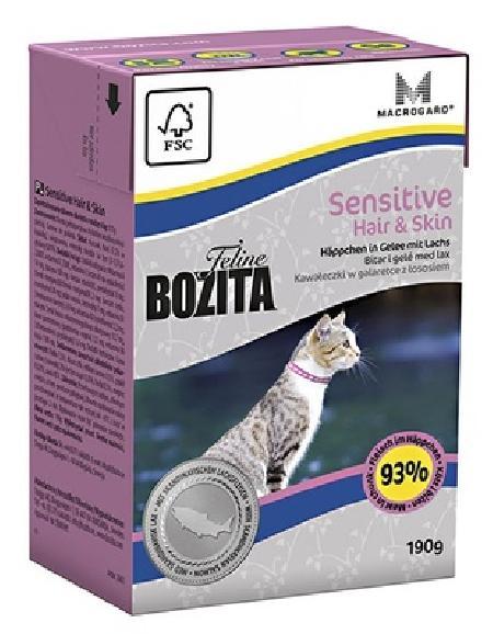 Bozita влажный корм для взрослых кошек всех пород, здоровье кожи и шерсти, кусочки в желе с лососем 190 гр