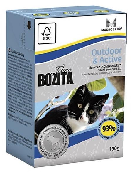 Bozita влажный корм для взрослых активных кошек всех пород, кусочки в желе с мясом лося 190 гр