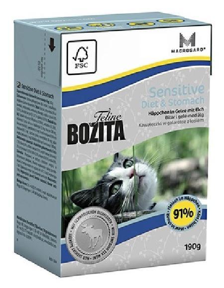 Bozita влажный корм для пожилых кошек, чувствительное пищеварение, кусочки в желе с мясом лося 190 гр