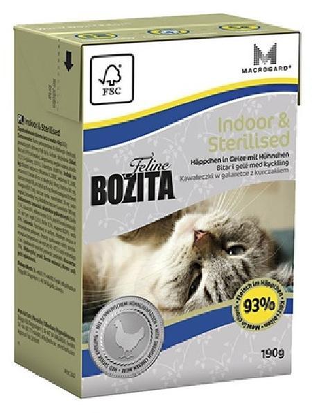 Bozita влажный корм для взрослых стерилизованных и домашних кошек, кусочки в желе с курицей 190 гр