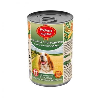 Родные Корма влажный корм для взрослых собак, Елец баранина с потрошками в желе по восточном 410 гр