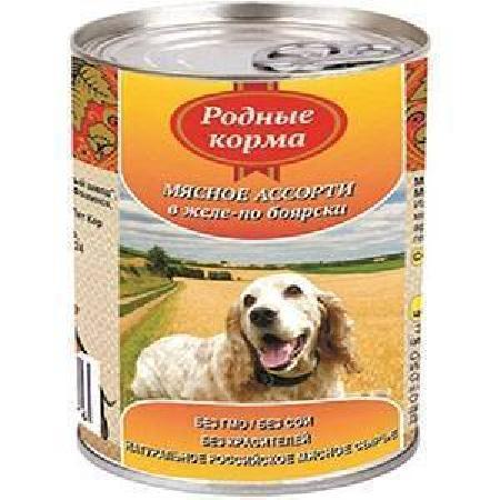 Родные Корма влажный корм для взрослых собак всех пород, Елец мясное ассорти в желе по боярски 410 гр
