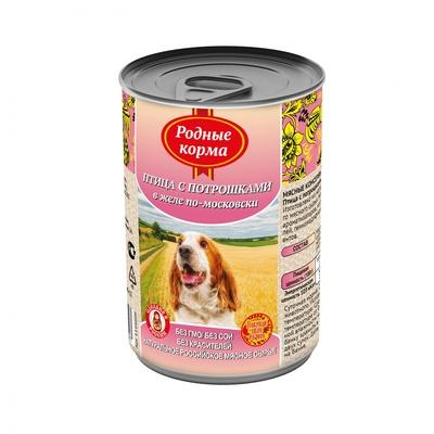 Родные Корма влажный корм для взрослых собак всех пород, Елец птица с потрошками в желе по московски 410 гр