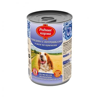 Родные Корма влажный корм для взрослых собак всех пород, говядина с потрошками в желе по купечески 970 гр
