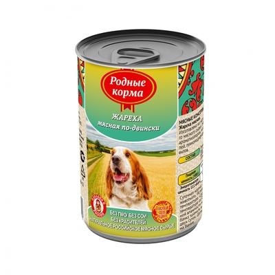 Родные Корма влажный корм для взрослых собак всех пород, жареха мясная по двински 970 гр