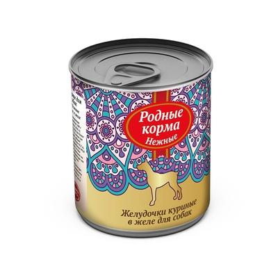 Родные Корма влажный корм для взрослых собак всех пород, желудочки куриные в желе 240 гр