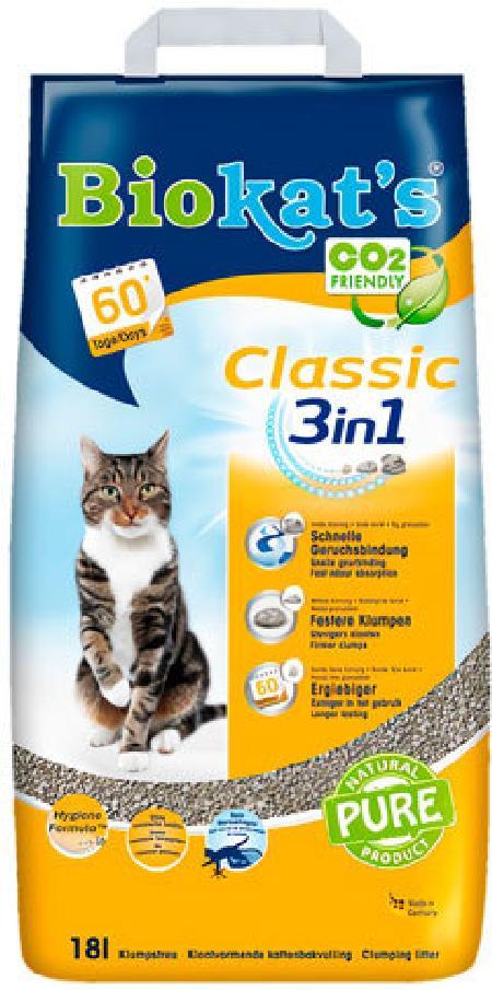 BioKats Classic 3 in 1 комкующийся наполнитель для кошачьих туалетов, без запаха 18 л