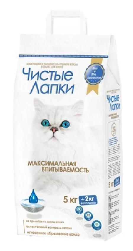 Чистые лапки Clean paws комкующийся наполнитель для кошек 7 кг (5 кг + 2 кг в подарок)