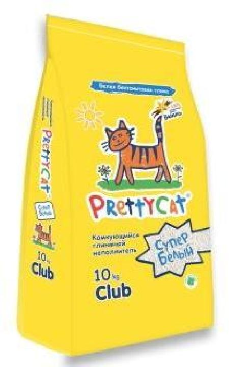 PrettyCat наполнитель комкующийся для кошачьих туалетов Супер белый с ароматом ванили 10 кг