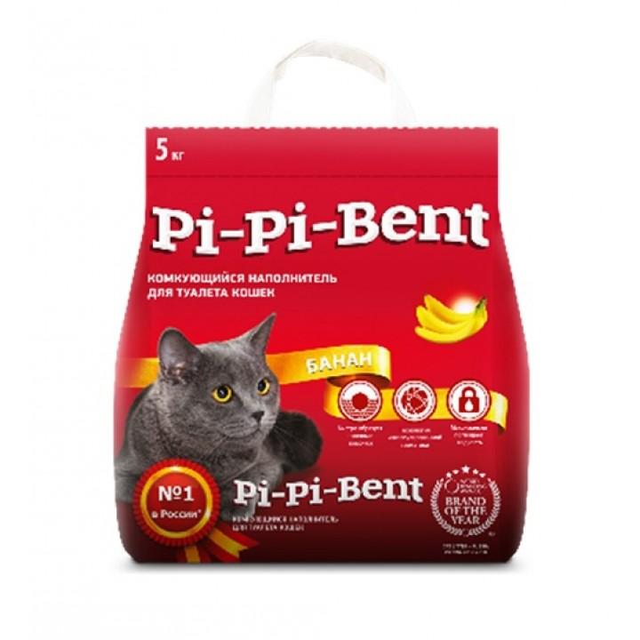 Pi-Pi-Bent ВИА Комкующийся наполнитель с ароматом спелого банана (Bananas), в пакете, 5,000 кг, 25146
