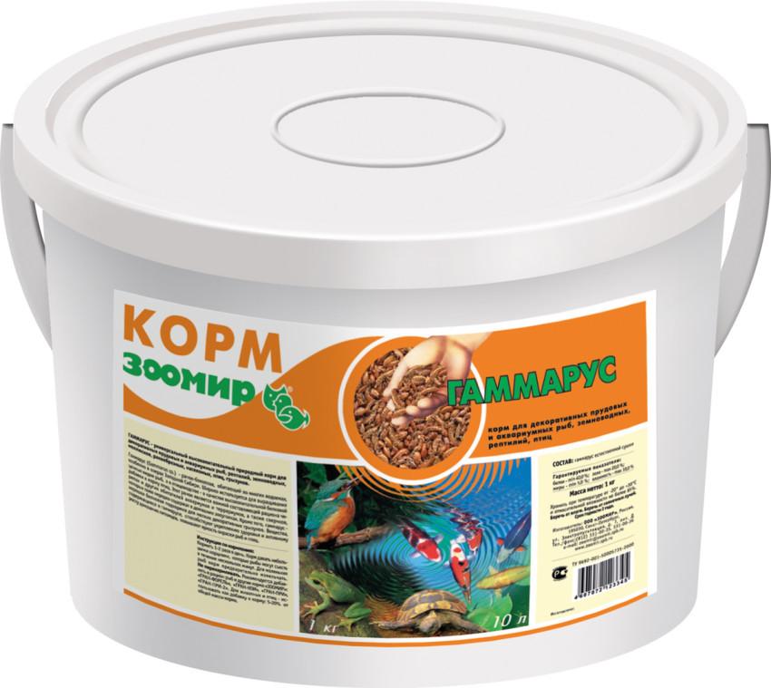 ЗООМИР Гаммарус для рыб, рептилий, земноводных, птиц, пластиковый контейнер 10л 477, 1,000 кг