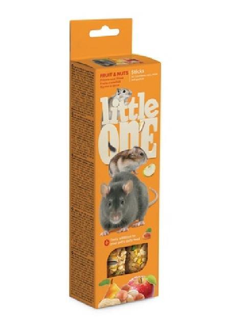 Little One Палочки для хомяков, крыс, мышей и песчанок с фруктами и орехами, 2х60 г, 0,120 кг