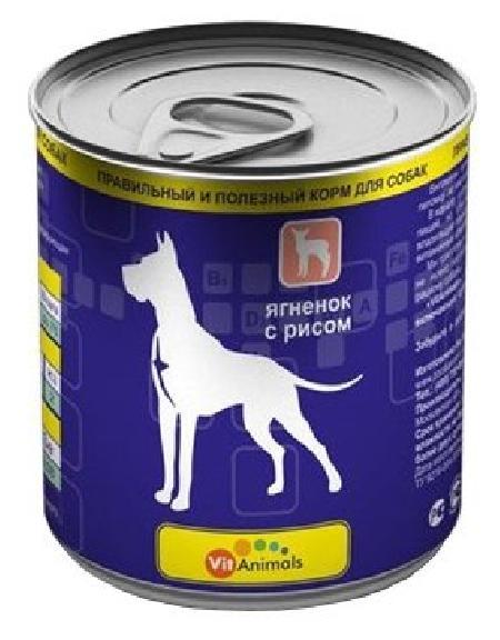 VitAnimals влажный корм для взрослых собак всех пород, ягненок с рисом 750 гр