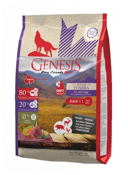 Genesis полувлажный корм для взрослых собак всех пород, мясо кабана, оленя и курицы 907 гр