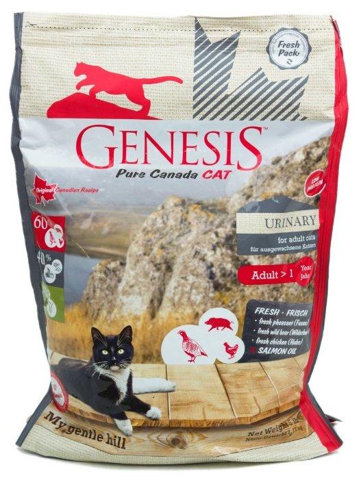 Genesis корм для взрослых кошек всех пород, профилактика МКБ, кабан, фазан и курица 340 гр