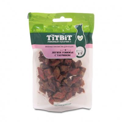 TiTBiT Вяленые лакомства для кошек Легкое говяжье с таурином 19443, 0,025 кг, 44192