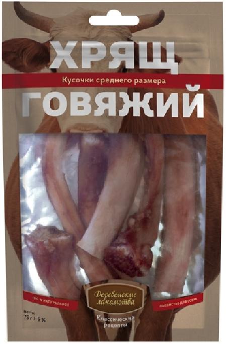 Деревенские Лакомства Хрящ говяжий средний размер лакомство для собак 77 гр