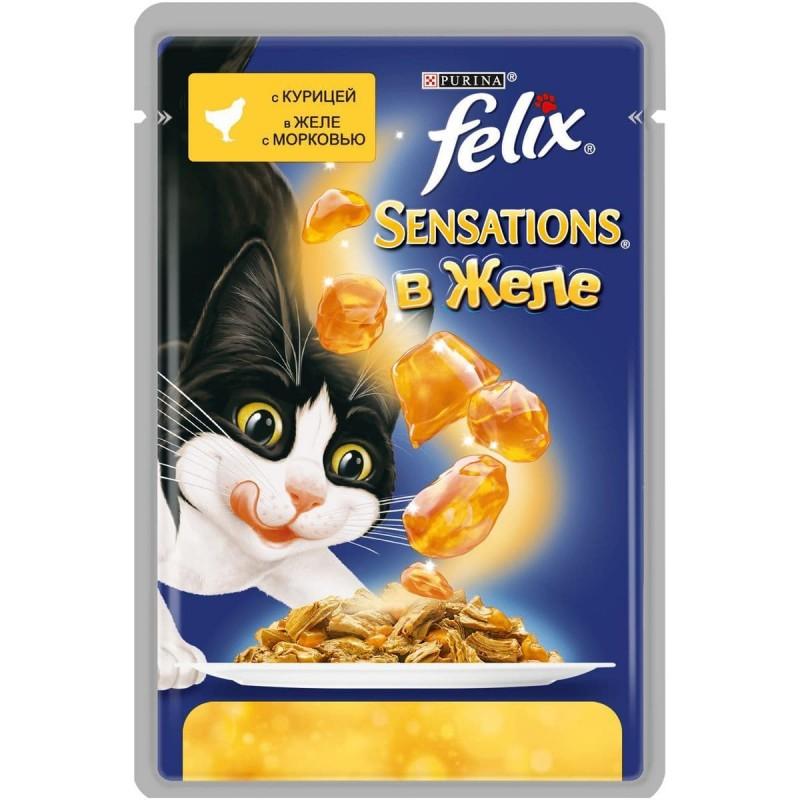 Felix Sensations влажный корм для взрослых кошек всех пород, курица и морковь 85 гр