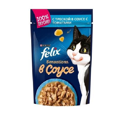 Felix Sensations влажный корм для взрослых кошек всех пород, треска и томат 85 гр