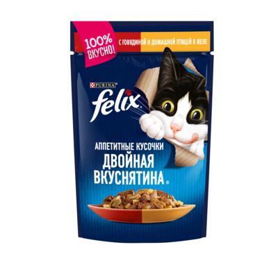 Felix Аппетитные Кусочки Двойная Вкуснятина влажный корм для взрослых кошек, говядина и птица в желе 85 гр
