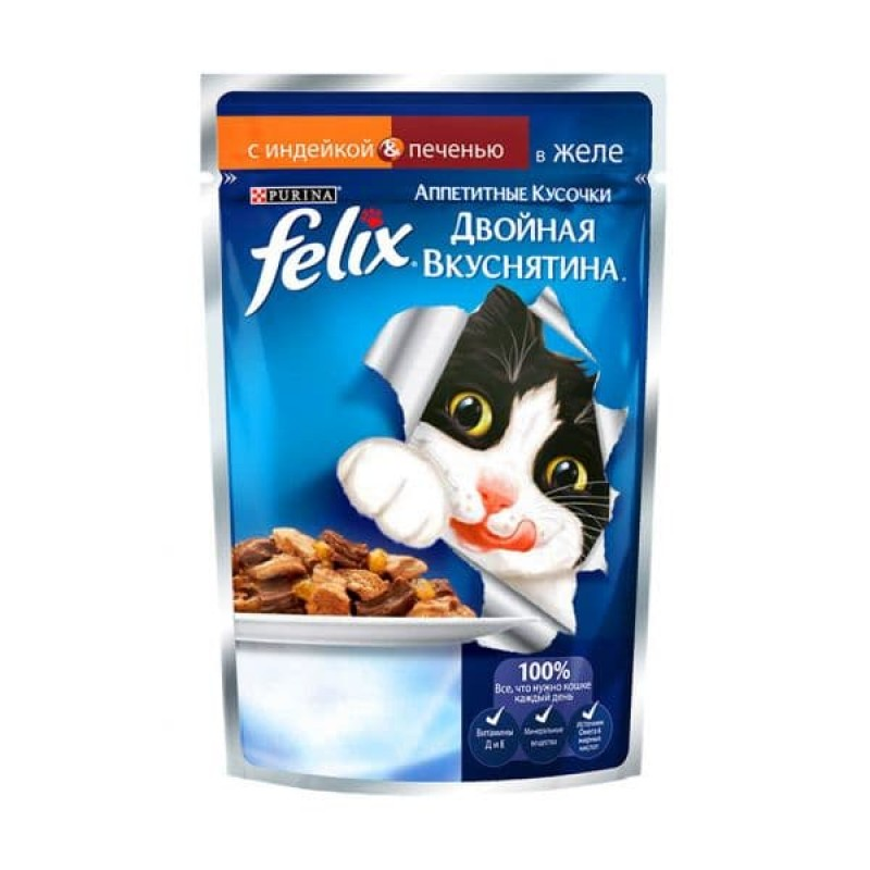 Felix Аппетитные Кусочки Двойная Вкуснятина влажный корм для кошек всех пород, индейка и печень 85 гр