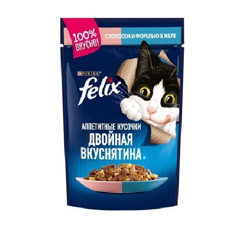 Felix Аппетитные Кусочки Двойная Вкуснятина влажный корм для взрослых кошек, лосось и форель в желе 85 гр