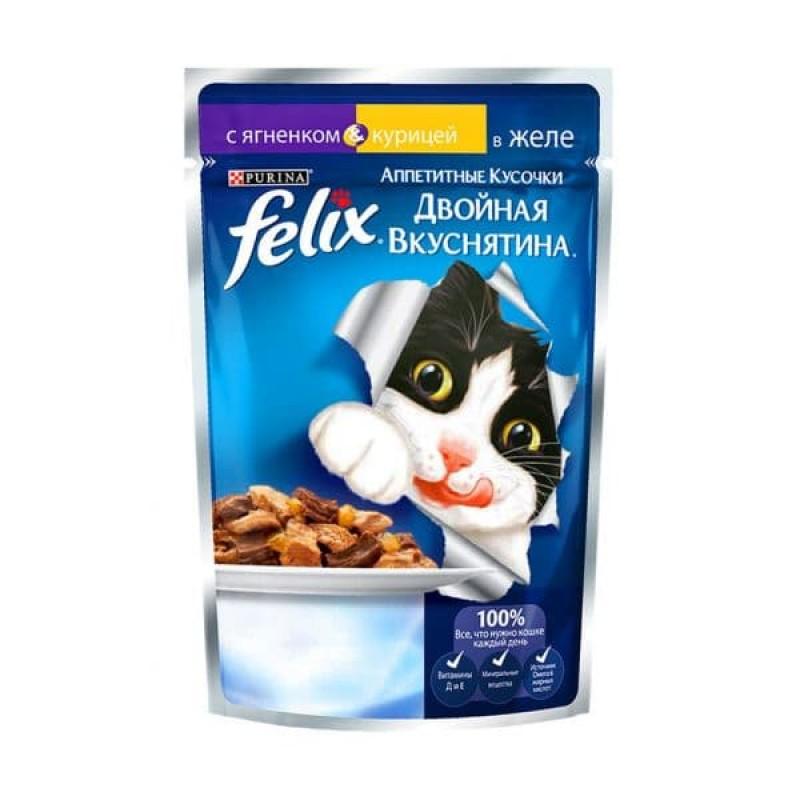 Felix Аппетитные Кусочки Двойная Вкуснятина влажный корм для взрослых кошек, ягненок и курица в желе 85 гр