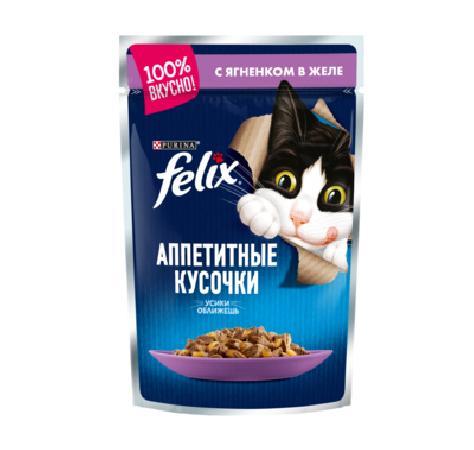 Felix Аппетитные Кусочки влажный корм для взрослых кошек всех пород, ягненок в желе 85 гр