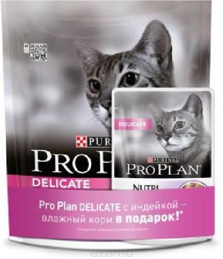 Proplan сухой корм для кошек с чувствит. пищеварением индейка 400 г + Proplan Нутрисейвор 85 гр 1/10, 12274632, 53485