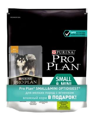 Pro Plan корм для собак малых и карликовых пород с чувствительным пищеварением, ягненок и рис 700 гр (600+100)
