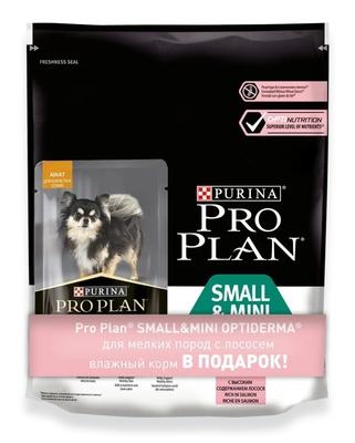Pro Plan корм для щенков малых и карликовых пород с чувствительной кожей, лосось и рис 700 гр + пауч 100 гр
